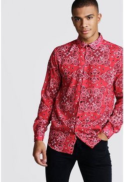 Mens Long Sleeve Red Bandana Design Shirt