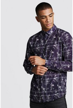 Mens Black Long Sleeve Floral Tile Print Shirt