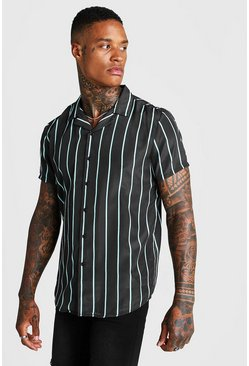 Mens Black Mint Stripe Revere Collar Shirt