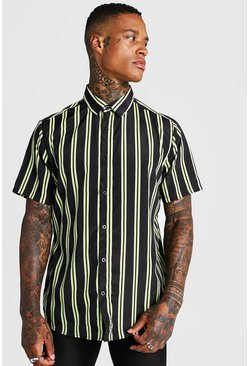 Mens Black Short Sleeve Neon Stripe Collared Shirt