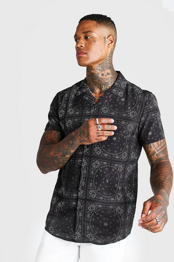 Mens Black Short Sleeve Revere Bandana Print Shirt