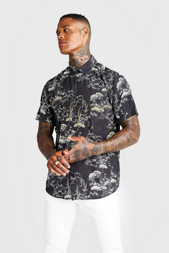 Mens Black Short Sleeve Oriental Design Collared Shirt