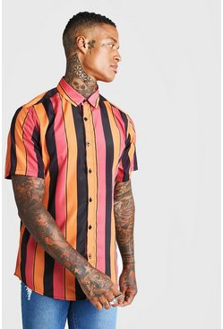 Mens Rust Collared Short Sleeve Shirt In Vertical Stripe