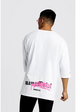 Mens White Graffiti MAN Official Oversized Step Hem T-Shirt