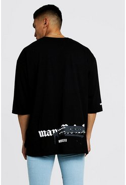 Mens Black Graffiti MAN Official Oversized Step Hem T-Shirt