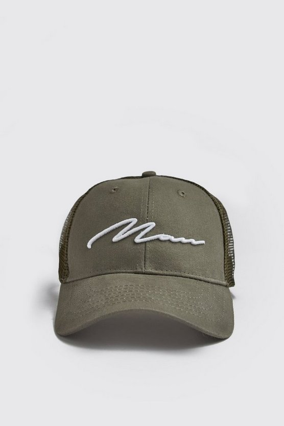 Mens Khaki MAN Script 3D White Embroidered Trucker Cap