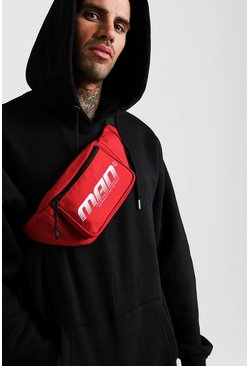 Mens Red MAN Gradient Print Bumbag