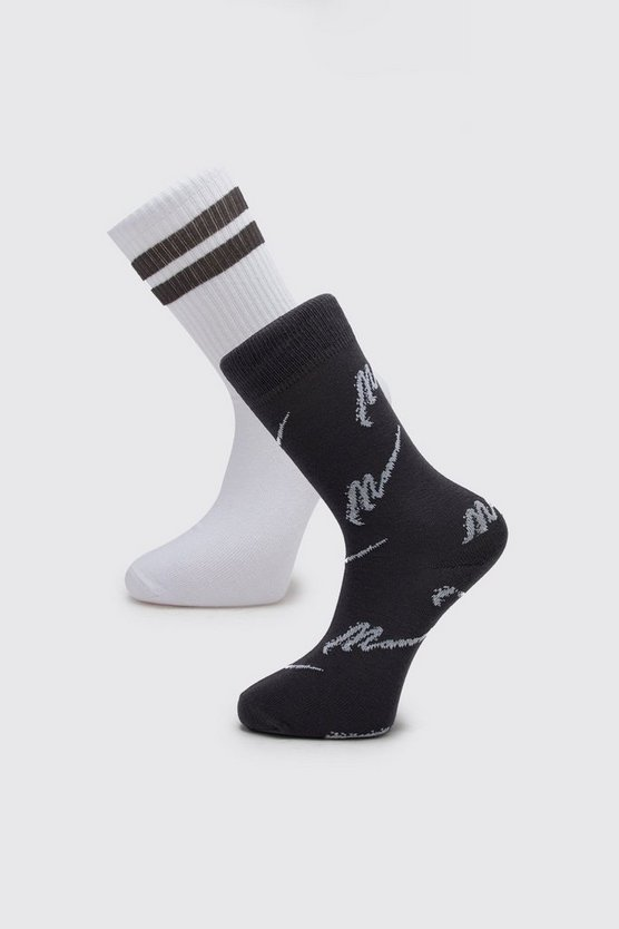 Grey MAN Script Two Pack Socks