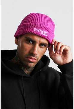 Mens Pink MAN Design Beanie