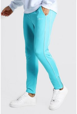 Mens Blue MAN Signature Tricot Joggers With Piping