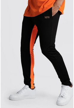 Mens Black Original MAN Neon Panelled Jogger