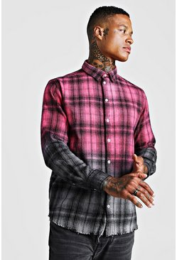 Mens Pink Dip Dye Check Shirt