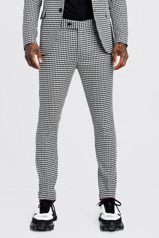 Large Dogtooth Skinny Fit Suit Trouser by Boohoo Man