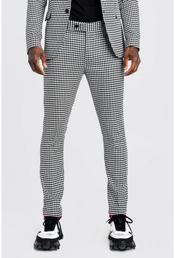 Black Large Dogtooth Skinny Fit Suit Trouser