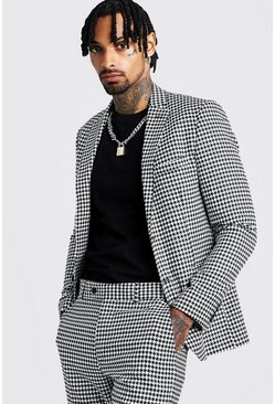 Black Skinny Fit Large Dogtooth Suit Jacket