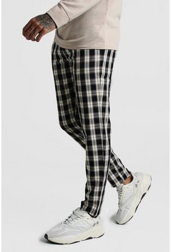 Mens Black Winter Check Smart Jogger Trouser