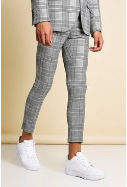 Black Mono Check Skinny Fit Cropped Suit Trouser