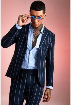 Navy Wide Set Stripe Skinny Fit Suit Jacket
