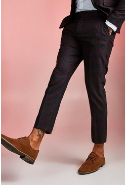 Burgundy Bold Check Skinny Fit Suit Cropped Pants