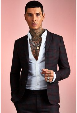 Burgundy Bold Check Skinny Fit Suit Jacket