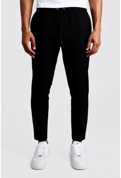 Black Plain Textured Smart Cropped Jogger Trouser