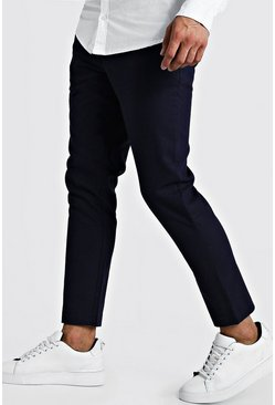 Mens Navy Plain Textured Smart Cropped Jogger Trouser
