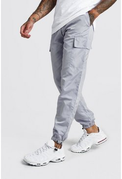 Mens Grey Nylon Cargo Joggers With Bungee Hem