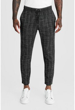 Black Textured Check Smart Cropped Jogger Pants