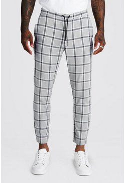 Mens Black Mono Check Skinny Fit Cropped Jogger