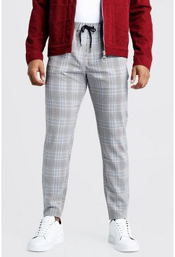 Mens Black Check Smart Jogger Trouser