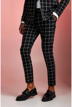 Black Skinny Fit Windowpane Check Trouser