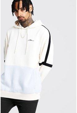 Ecru MAN Signature Colour Block Oversized Hoodie