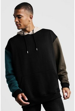 Sweat à capuche à enfiler oversize colour block, Noir, Homme