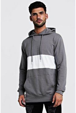 Mens Grey Colour Block Muscle Fit OTH Hoodie