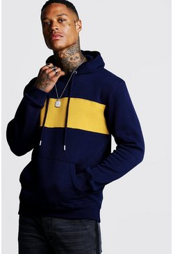 Mens Navy Colour Block OTH Hoodie