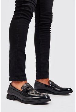 Black Faux Leather Chunky Loafer