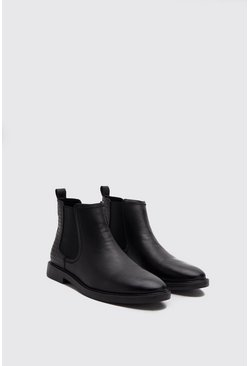 Black Faux Leather Emboss Chelsea Boot