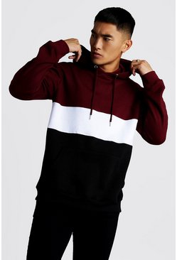 Burgundy Colour Block Over The Head Hoodie