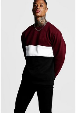 Mens Burgundy Colour Block Sweatshirt