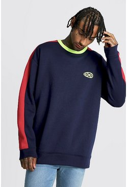 Mens Navy Gothic M Globe Oversized Sweat In Colour Block
