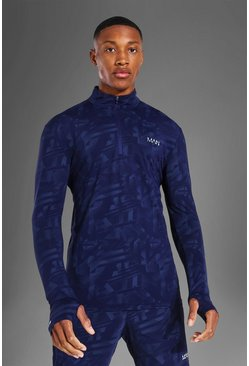Navy Man Active Abstract Muscle Fit ¼ Zip Top