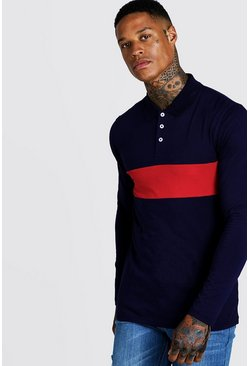 Mens Red Colour Block Muscle Fit Long Sleeve Polo