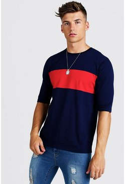 Mens Navy Colour Block 3/4 Sleeve T-Shirt