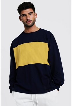 Mens Navy Colour Block Oversized Long Sleeve T-Shirt