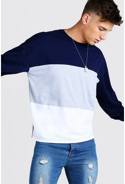 Mens Grey marl Colour Block Oversized Long Sleeve T-Shirt