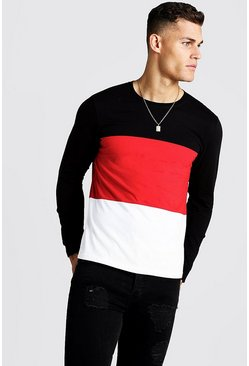 Mens Red Colour Block Long Sleeve T-Shirt