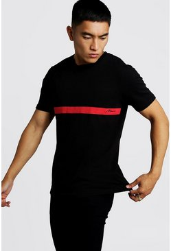 Black MAN Signature Colour Block T-Shirt