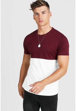 Mens Wine Colour Block T-Shirt