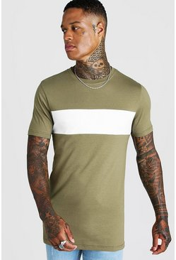 Lang geschnittenes Muscle Fit T-Shirt im Colorblock-Design, Khaki