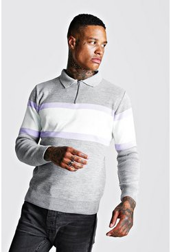 Mens Grey Muscle Fit Long Sleeve Colour Block Knitted Polo